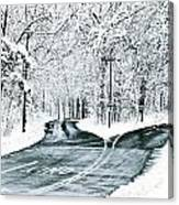 Split Snowy Road Canvas Print
