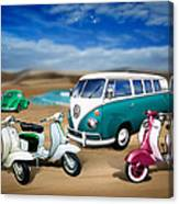Splitty Vw Beetle And Scooters Canvas Print