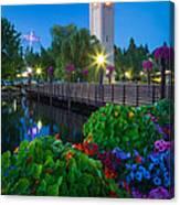 Spokane Clocktower By Night Canvas Print