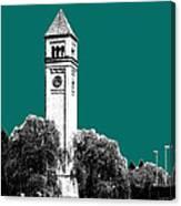 Spokane Skyline Clock Tower - Sea Green Canvas Print
