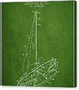 Sport Sailboat Patent From 1977 - Green Canvas Print
