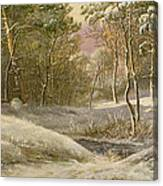 Sportsmen In A Winter Forest Canvas Print