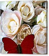 Spray Roses And Red Butterfly Canvas Print