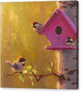 Spring Chickadees 1 - Birdhouse And Birch Forest Canvas Print