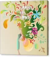 Spring Floral Girl Illustration Canvas Print