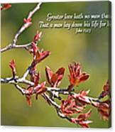 Spring Leaves Greeting Card With Verse Canvas Print