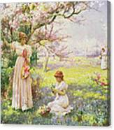 Spring   Picking Flowers Canvas Print