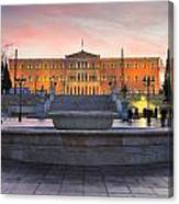 Square With A Fountain Canvas Print