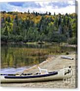 Squareback Canoe With Engine Canvas Print