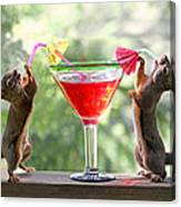 Squirrels At Cocktail Hour Canvas Print