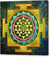 Sri Yantra Gold And Stars Canvas Print