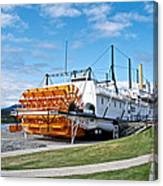 Ss Klondike Sternwheeler From Stern On The Yukon River In Whitehorse-yk Canvas Print