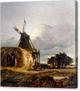 St Benets Abbey And Mill, Norfolk, 1833 Canvas Print