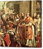 St. Bernard Of Clairvaux 1090-1153 And William X 1099-1137 Duke Of Aquitaine Oil On Canvas Canvas Print