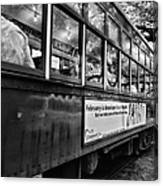 St. Charles Ave Streetcar Whizzes By-black And White Canvas Print