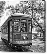 St. Charles Streetcar 2 Bw Canvas Print