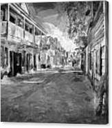 St George Street St Augustine Florida Painted Bw Canvas Print