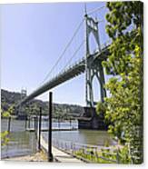 St Johns Bridge Over Willamette River Canvas Print