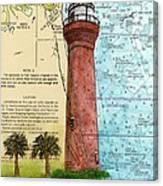 St Johns River Lighthouse Fl Nautical Chart Map Art Cathy Peek Canvas Print