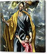 Saint Joseph And The Christ Child Canvas Print