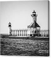 St. Joseph Lighthouses Black And White Picture  Canvas Print