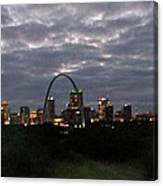 St. Louis Arch At Dusk From The Train Canvas Print