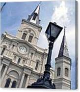 St Louis Cathederal And Lamp Canvas Print