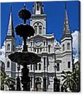 St Louis Cathedral Fountain Canvas Print