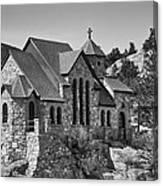 St Malo Chapel On The Rock Colorado Bw Canvas Print