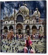 St Mark's Basilica - Feeding The Pigeons Canvas Print
