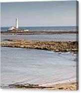 St Marys Lighthouse Across Sandy Bay Canvas Print