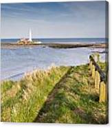 St Marys Lighthouse From Cliff Top Canvas Print