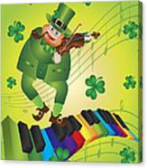 St Patricks Day Leprechaun Dancing On Piano Keyboard Canvas Print