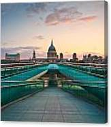 St. Paul's Cathedral And Millennium Bridge In London Canvas Print