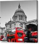 St Pauls Cathedral In London Uk Red Buses In Motion Canvas Print