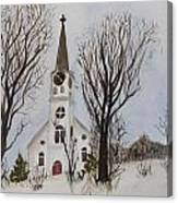 St. Pauls Church In Barton Vt In Winter Canvas Print