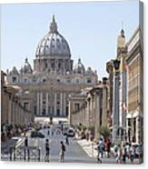 St Peter Basilica Viewed From Via Della Conciliazione. Rome Canvas Print