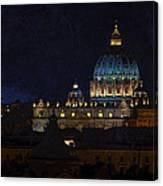 St Peters Basilica At Night Canvas Print