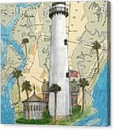 St Simons Lighthouse Ga Nautical Chart Map Art Cathy Peek Canvas Print