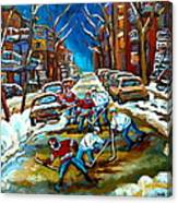 St Urbain Street Boys Playing Hockey Canvas Print