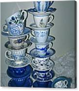 Stack Of Blue Teacups  Canvas Print