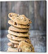 Stack Of Chocolate Chip Cookies With One Leaning Kitchen Art Canvas Print