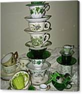 Stack Of Green Teacups  Canvas Print