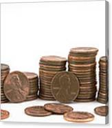 Stacks Of American Pennies White Background Canvas Print