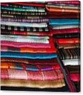 Stacks Of Colorful Shawls Canvas Print