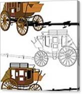 Stagecoach Without Horses - Color Sketch Drawing Canvas Print