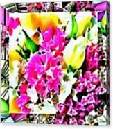 Stain Glass Framed Florals Canvas Print