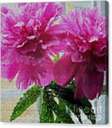 Stained Glass Peonies Canvas Print