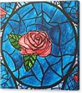 Stained Glass Roses Canvas Print