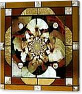 Stained Glass Template Sepia Flora Kalidescope Canvas Print